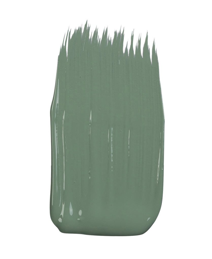 sage green paint sample on white background
