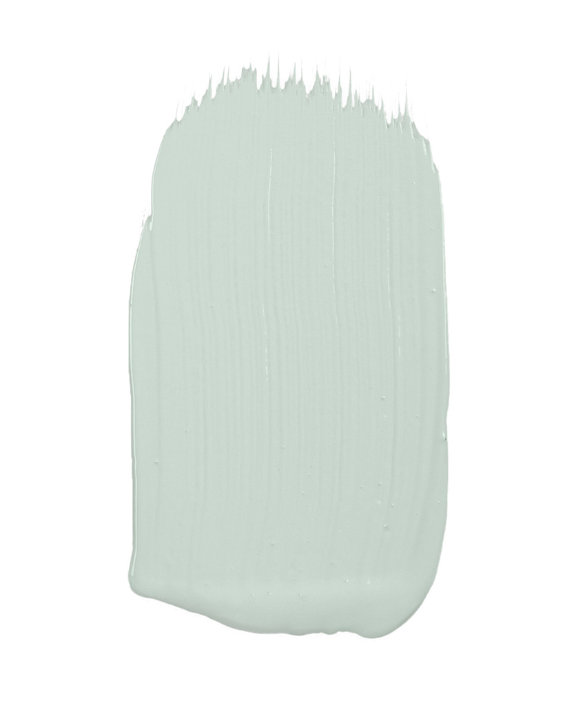 pale green paint sample on white background