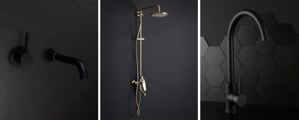 Blacka nd gold taps and showers