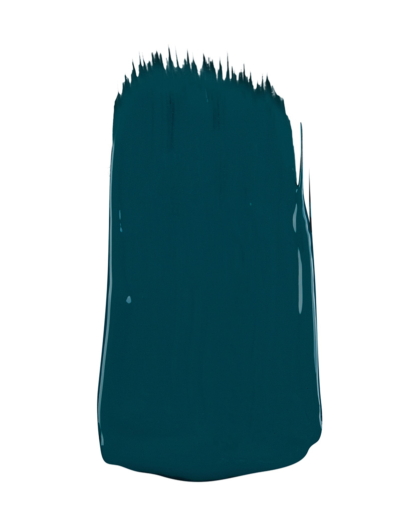 dark teal paint sample on white background