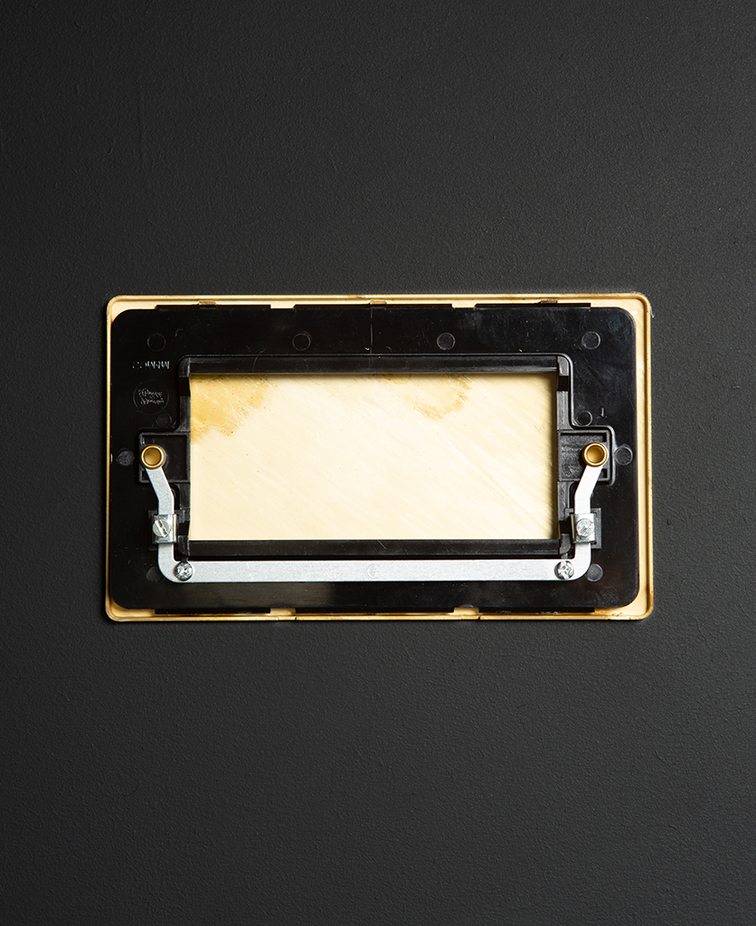 back view of double smoked gold blank fascia on black background