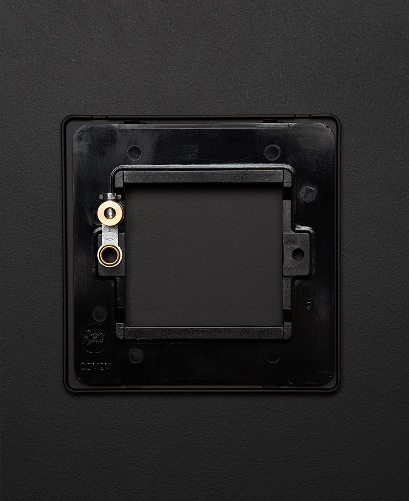 back view of single black blank fascia on black background