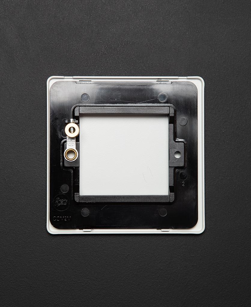 back view of single white blank fascia on black background