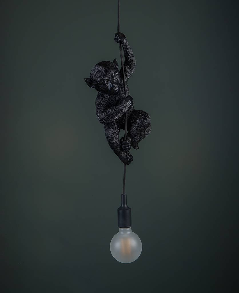 darwin hanging monkey light black monkey with unlit frosted bulb against black background