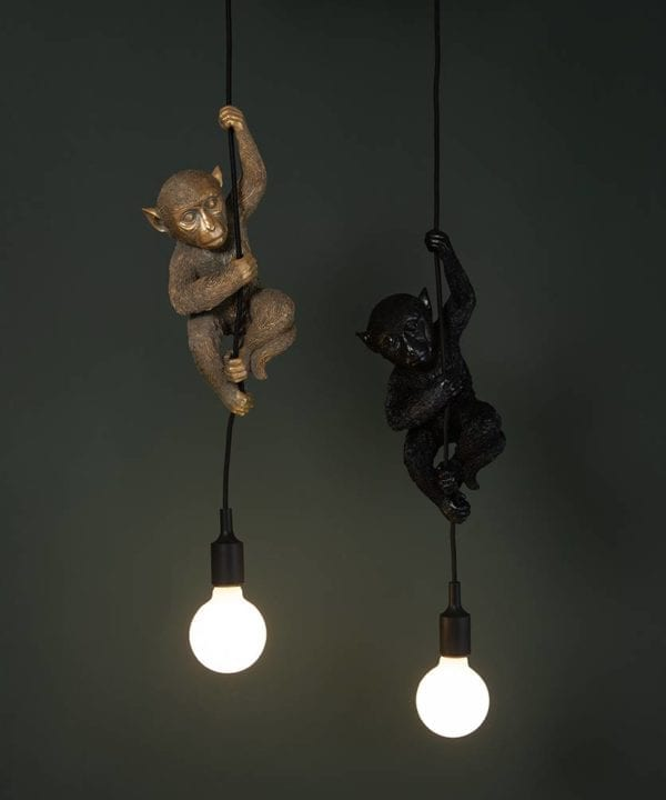 Black and gold monkey pendant light