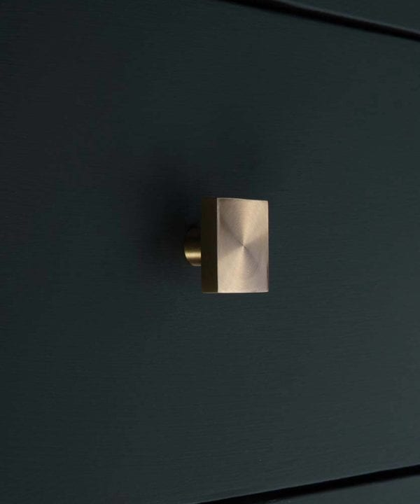 Brass square cupboard drawer knob