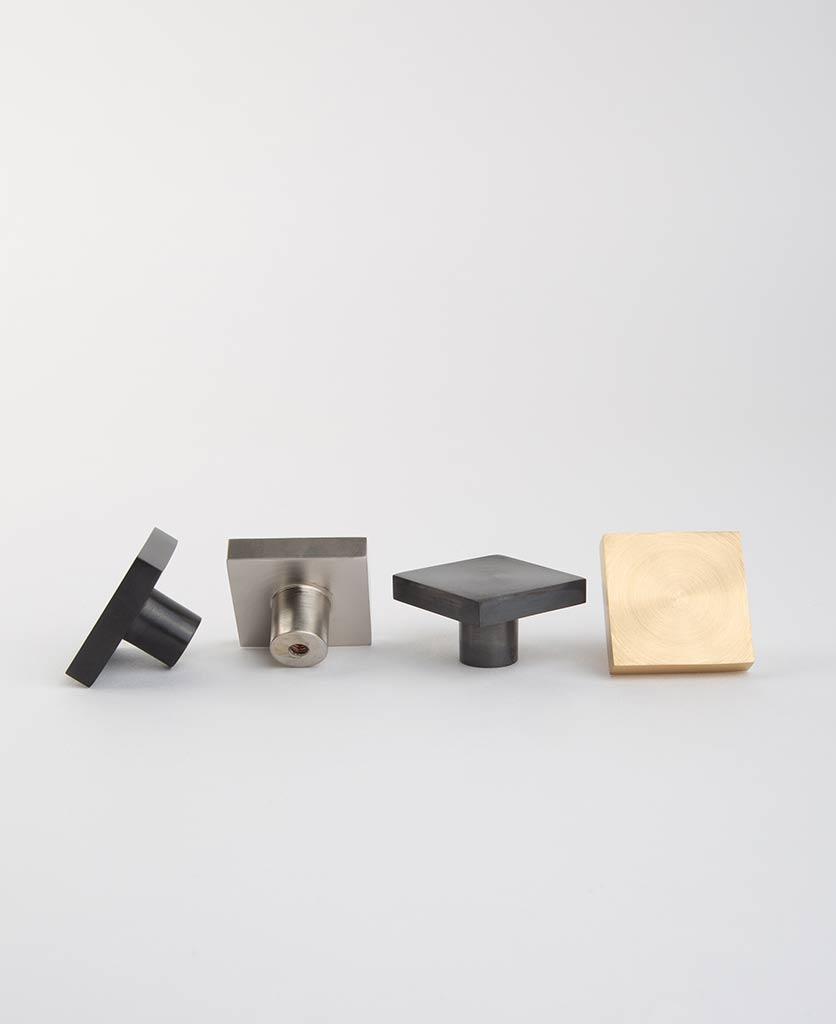 Expressionist square metal knob