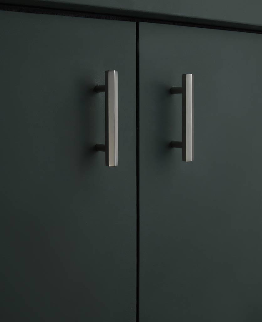 10cm hive silver kitchen door handle on dakr grey cupboard