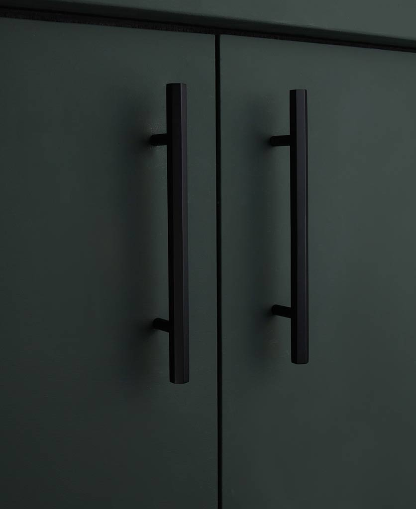 Black hexagonal kitche drawer handle
