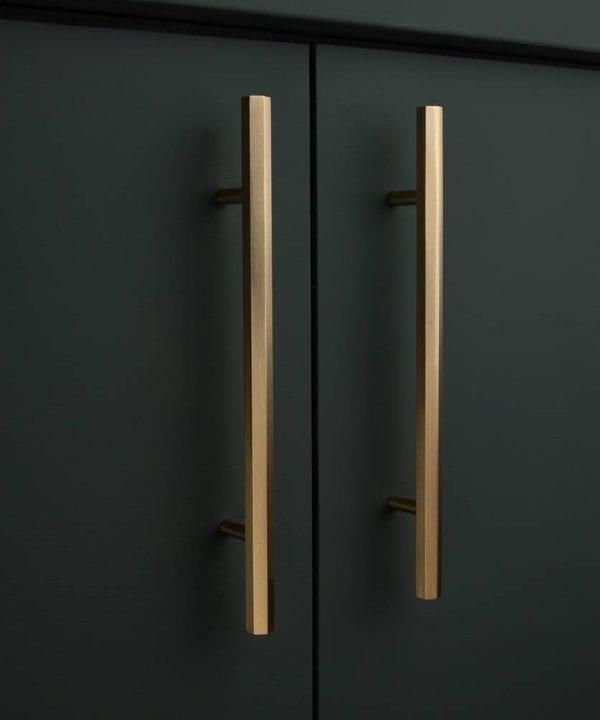 Brass hexagonal kitche drawer handle