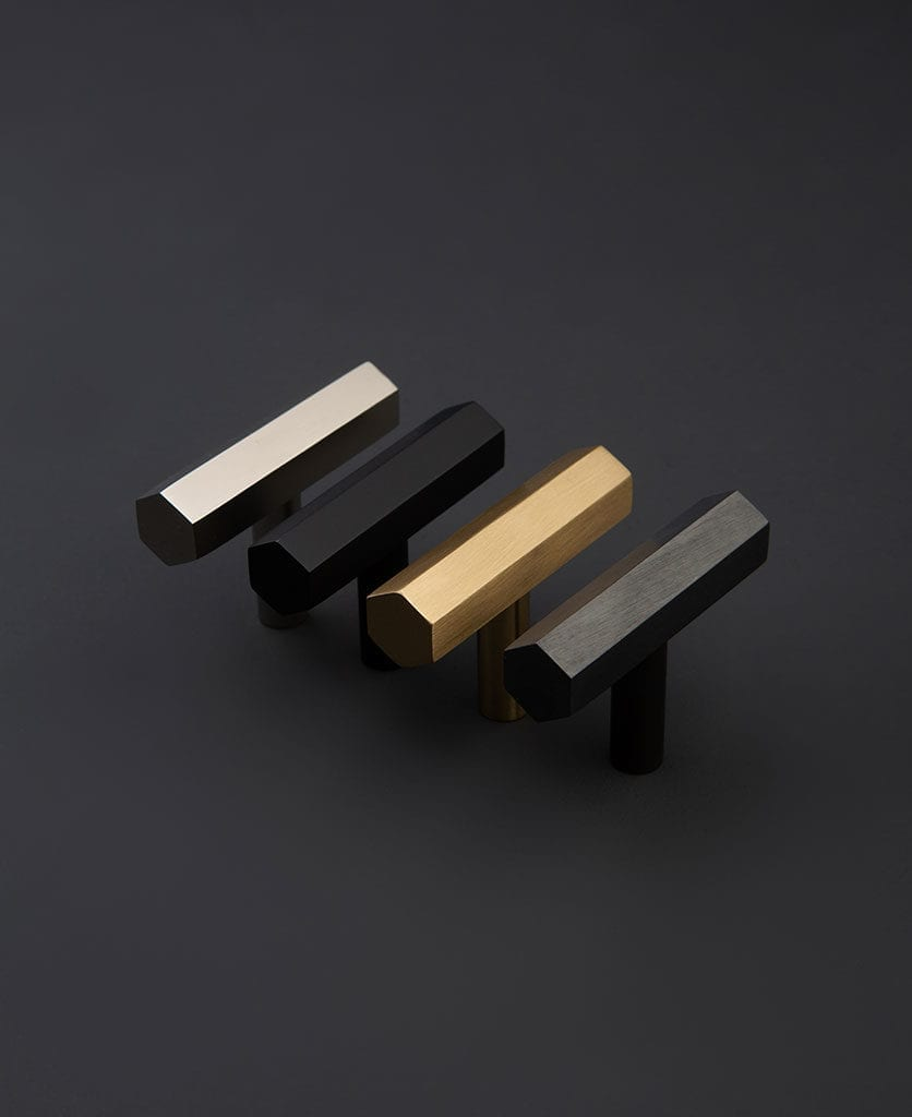 Hive hexagonal metal T-bar handle in four finishes