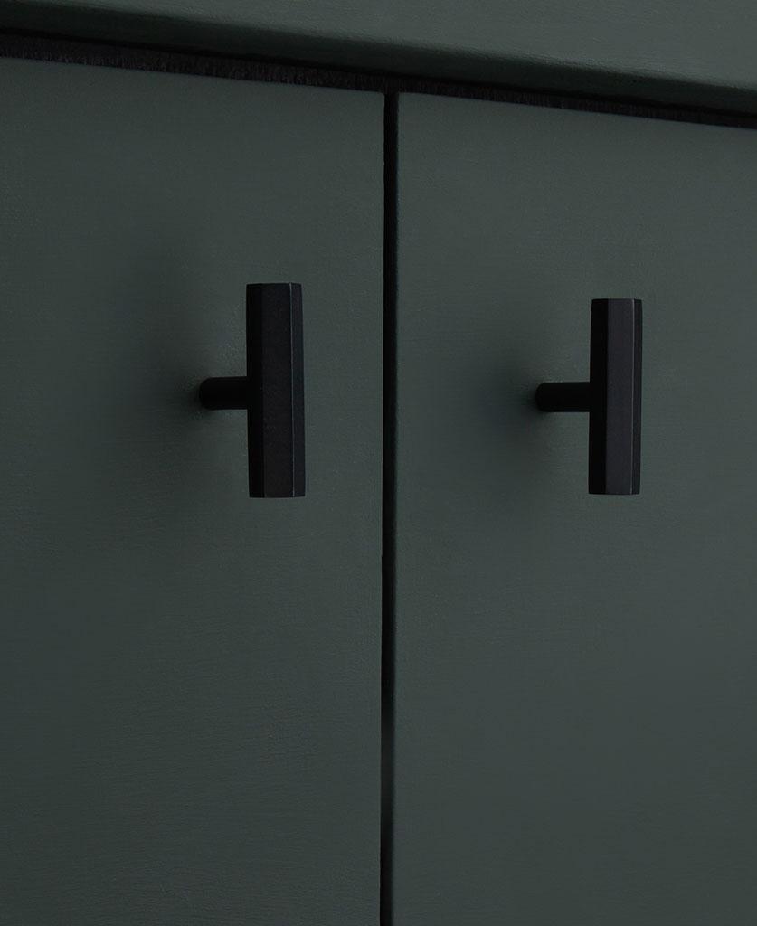 Black hexagonal metal kitchen drawer handle