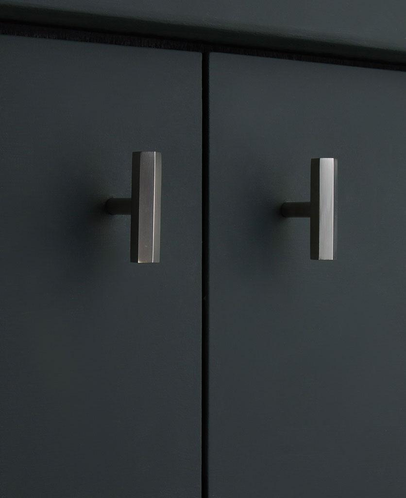 Silver hexagonal metal t-bar handle