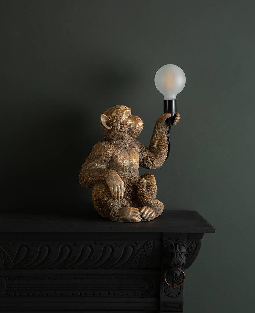 Abu gold sitting monkey table lamp on dark background holding switched off lightbulb