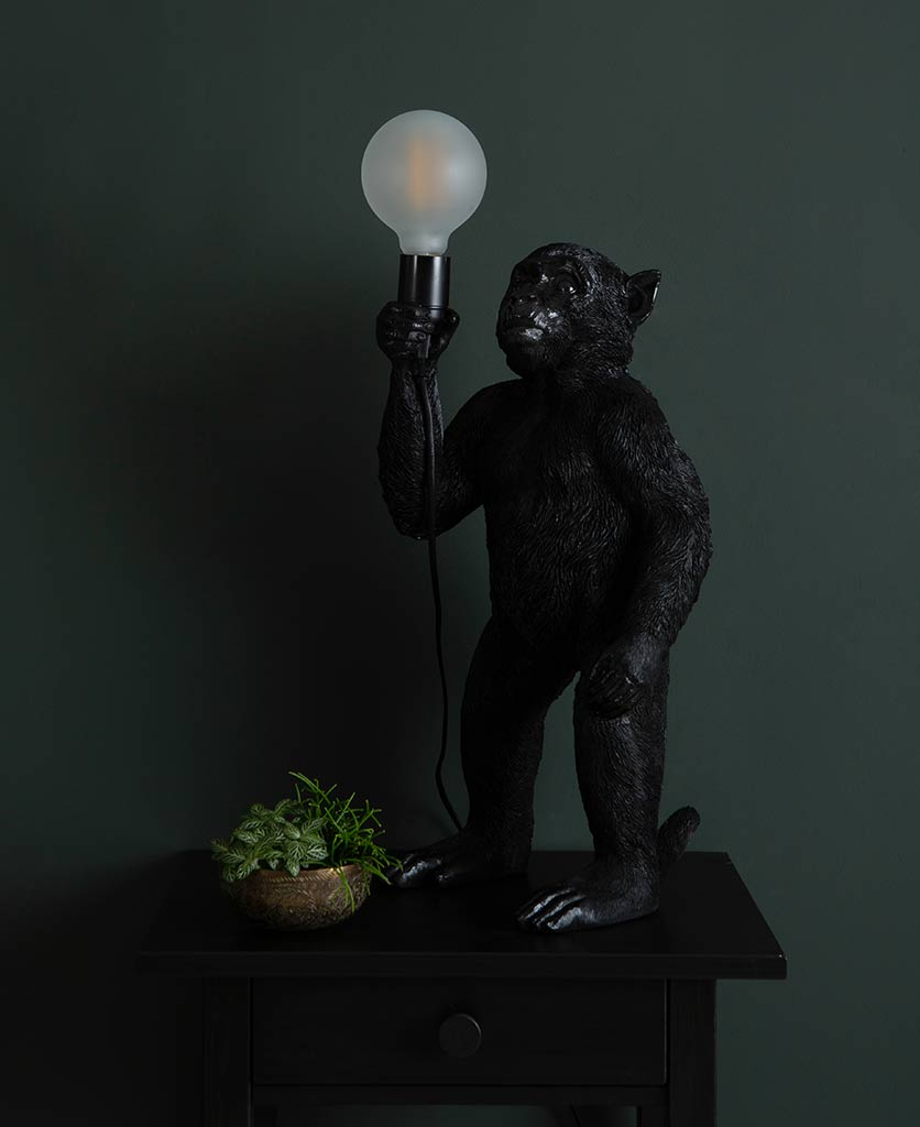 Monty black standing monkey table lamp on dark background holding switched off lightbulb
