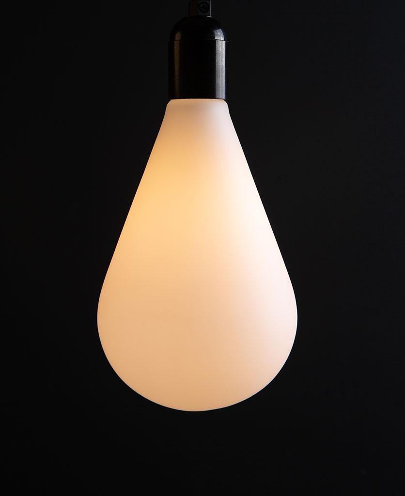Lit Celestia decorative bulbs susoended from black bakelite bulbholder on black background