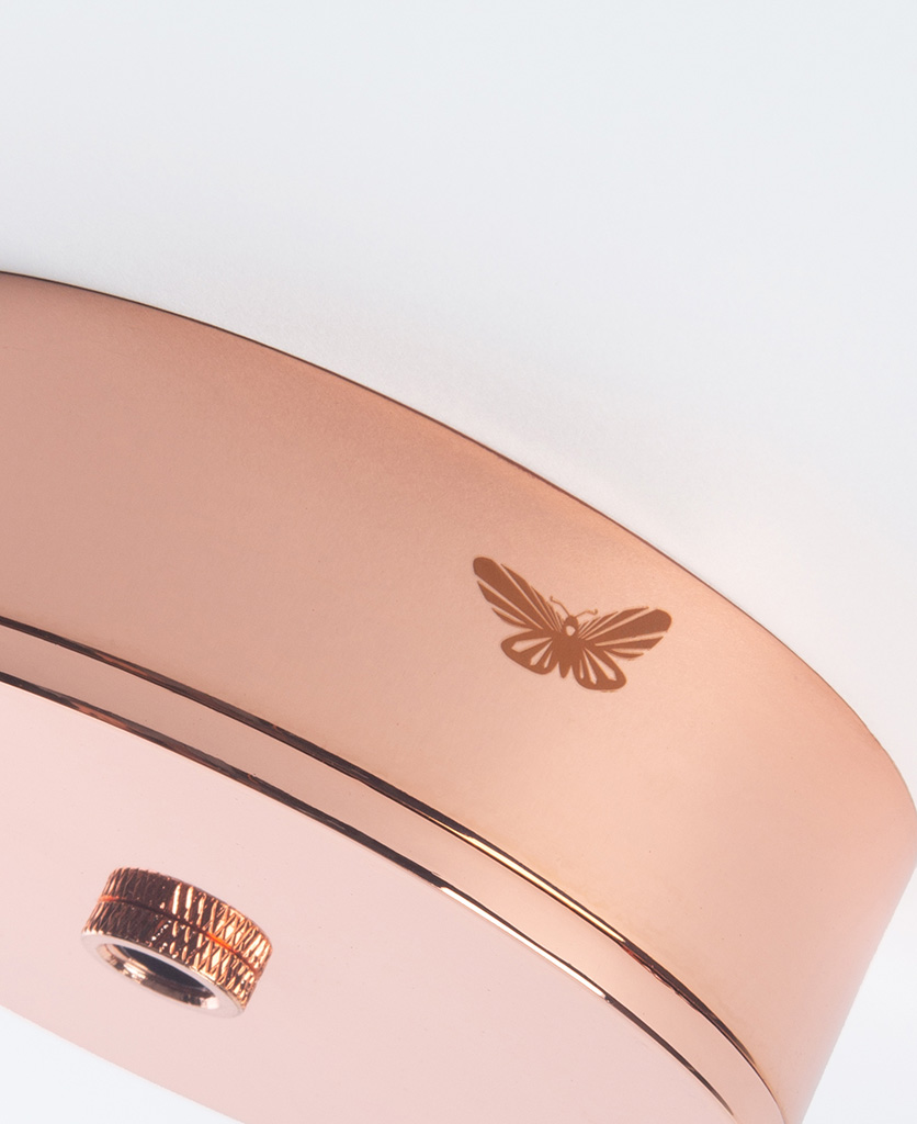 closeup of polished copper ceiling rose with moth against white background