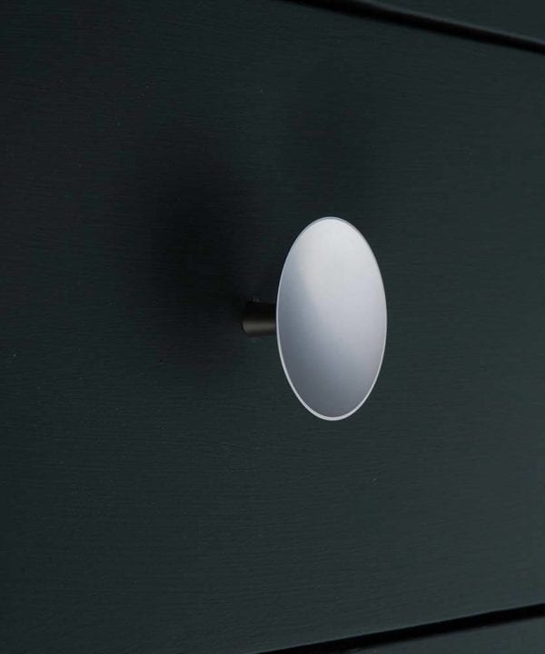 Silver disc kitchen drawer knob