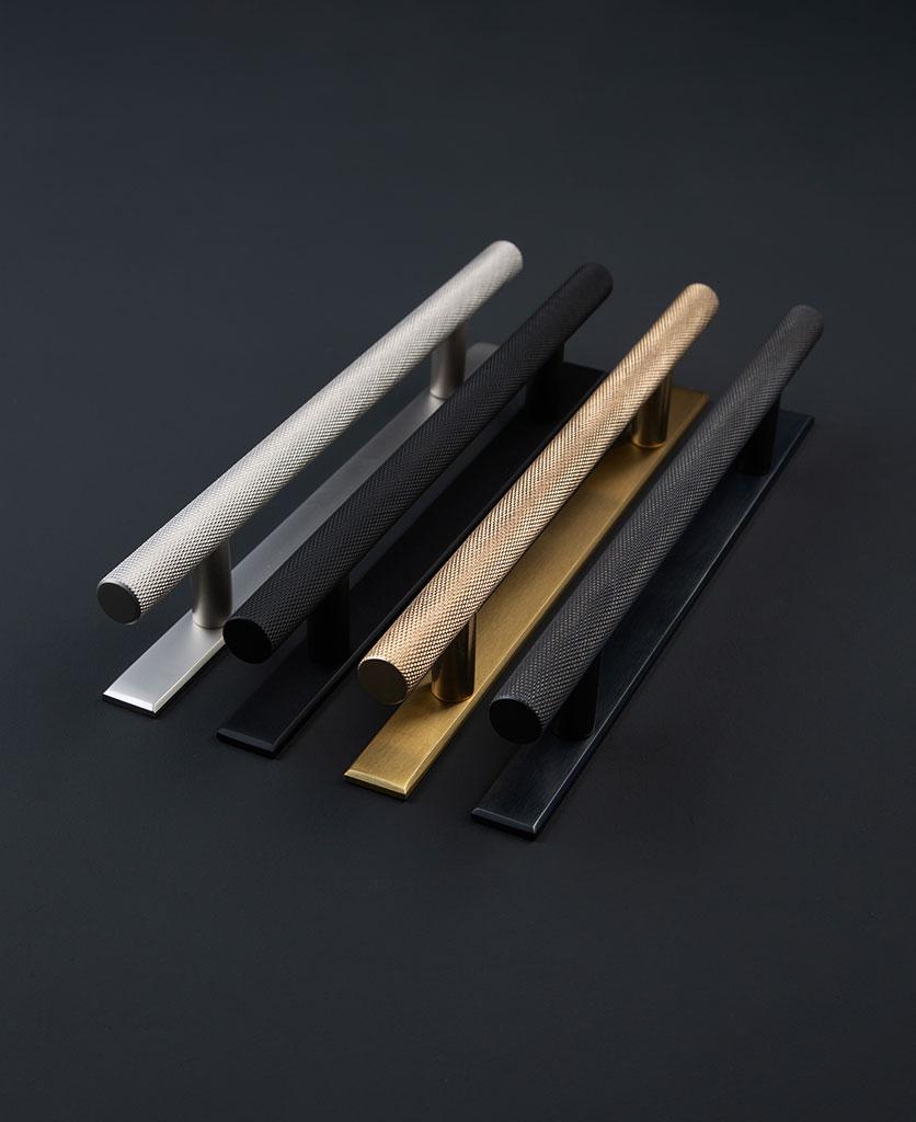 designer kitchen door handles - skyscraper with backplate group shot