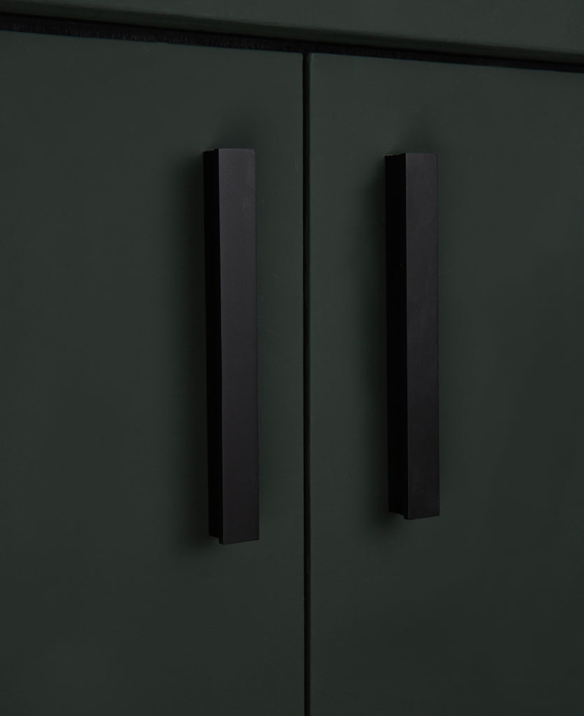 tau 18cms black metal kitchen drawer handles on dark grey cupboard
