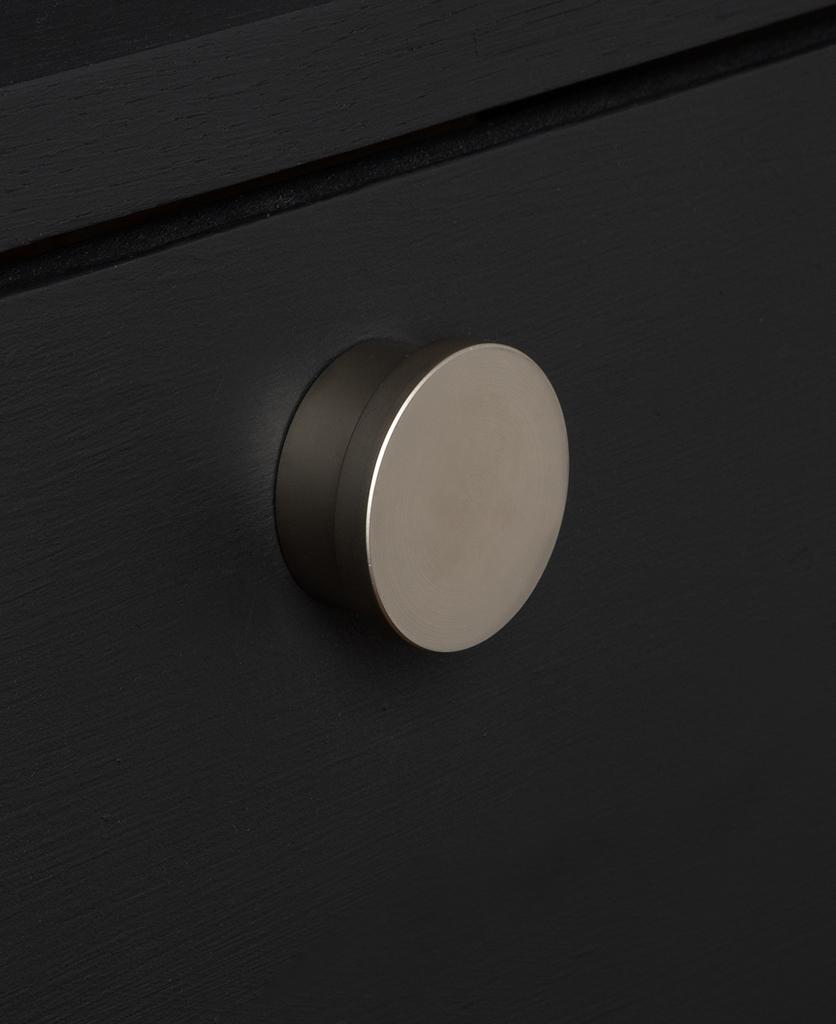 baroque silver knob on black drawer