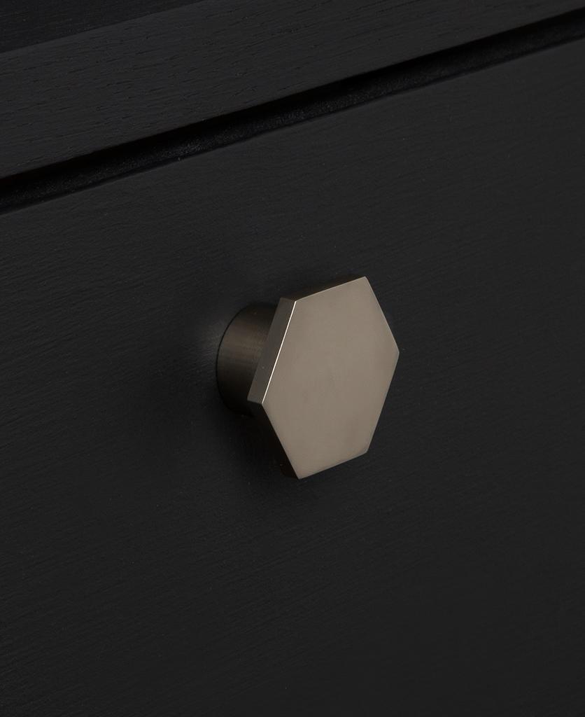 bauhaus silver knob on black drawer