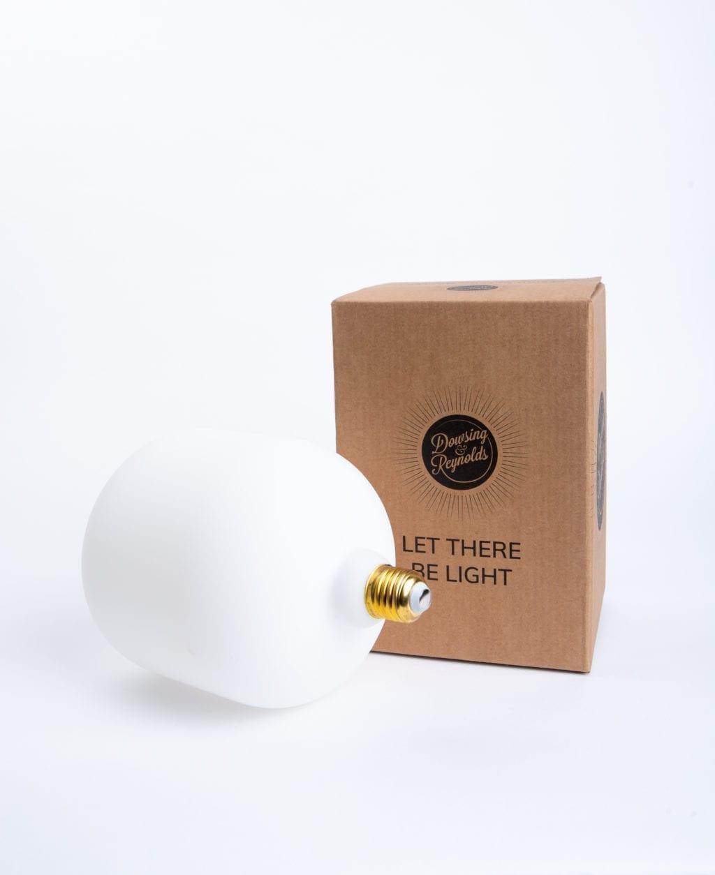 Pandora globe light bulb with cardboard box against white background