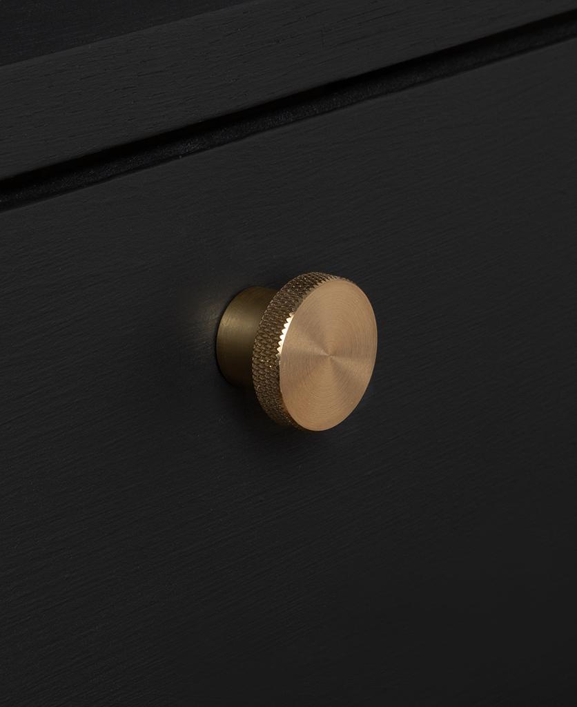 small modernist knob gold on black drawer