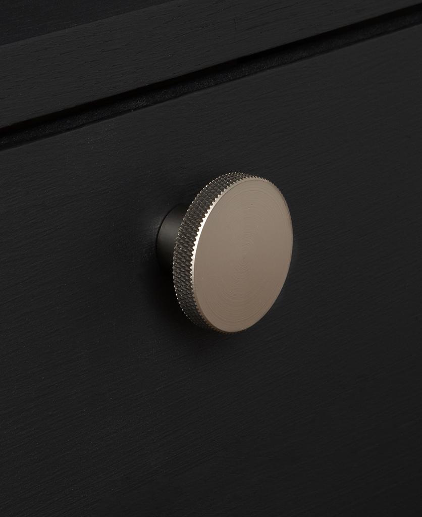 large modernist knob silver on black drawer