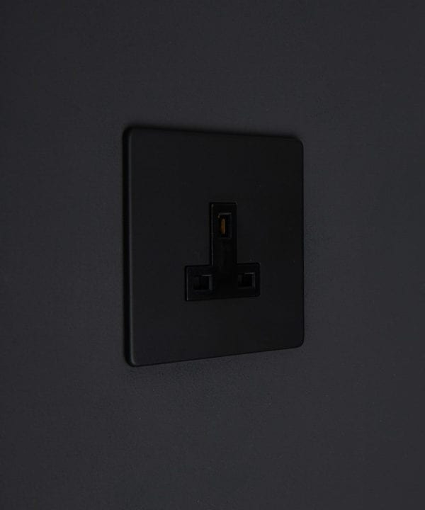 Black Plate 1G 13A Unswitched Wall Socket Black Switch