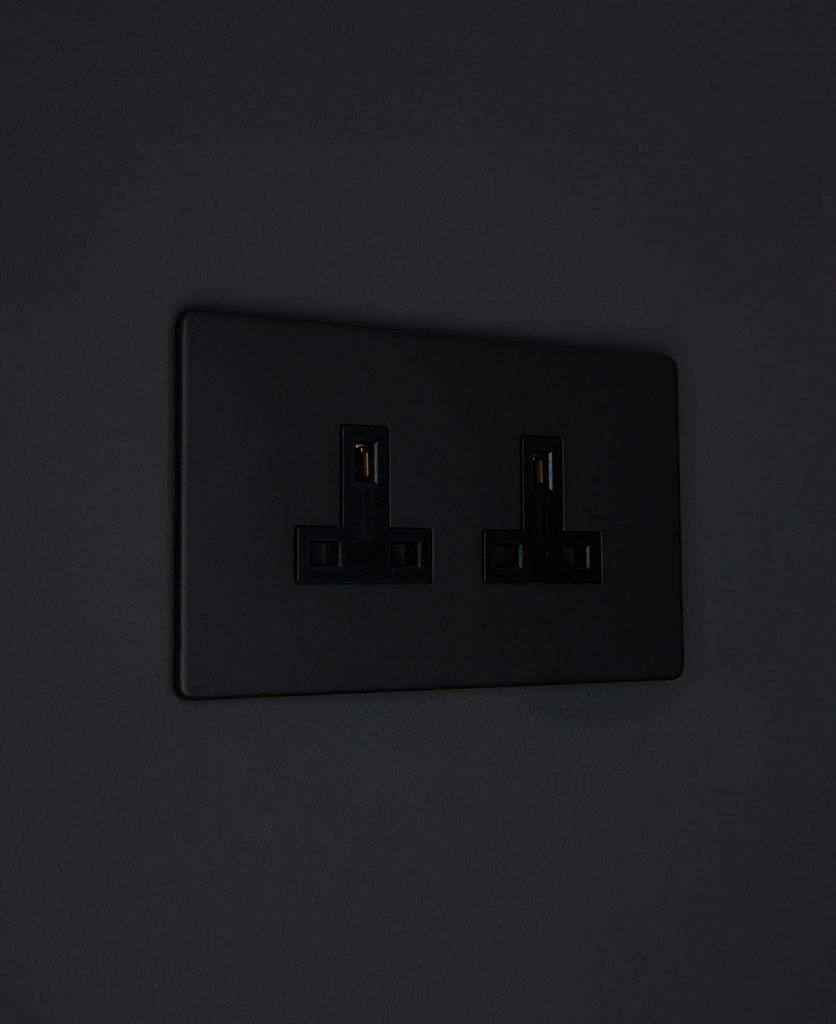 black double unswitched socket on a black wall