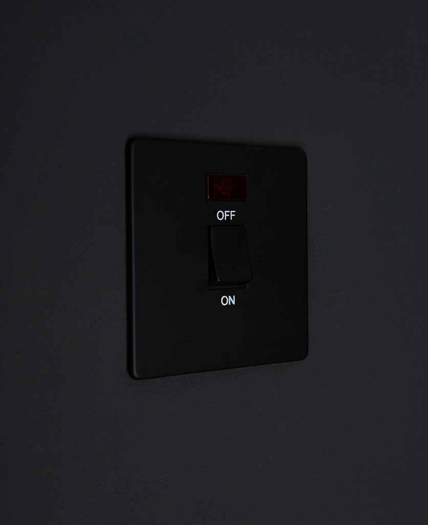 Black Plate 20A Double Pole Switch With Neon Black Switch