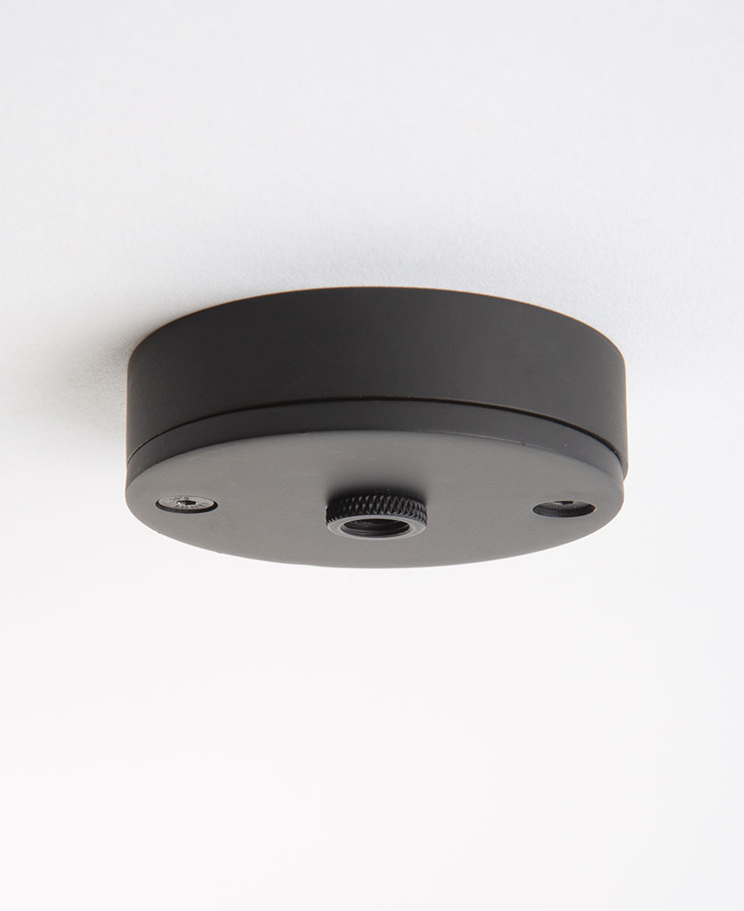 small black ceiling rose against white background