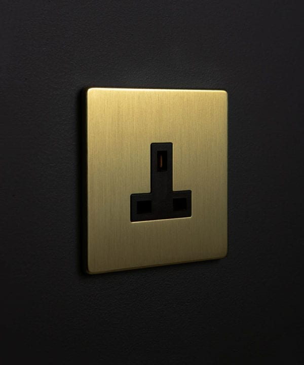 gold plug socket without switch with black insert against black wall