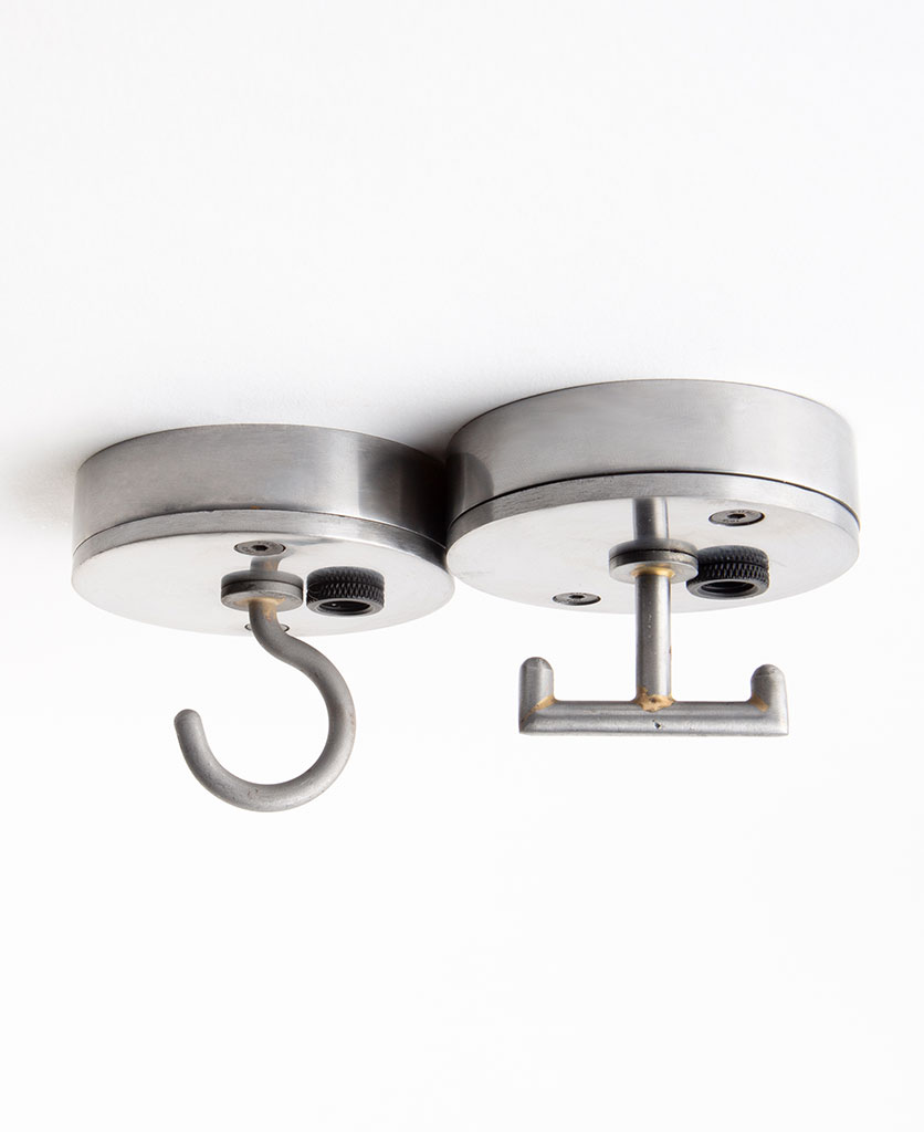 Raw steel small ceiling rose fitting with hook against white background