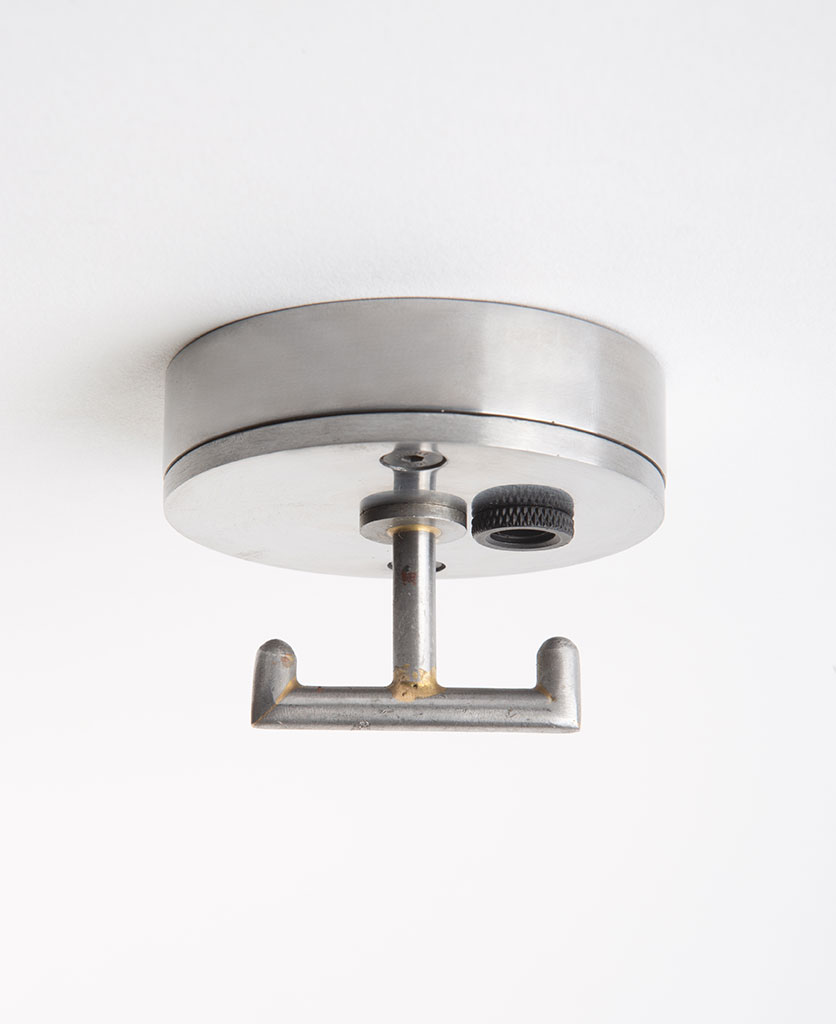 raw steel ceiling rose with t shaped hook against white background