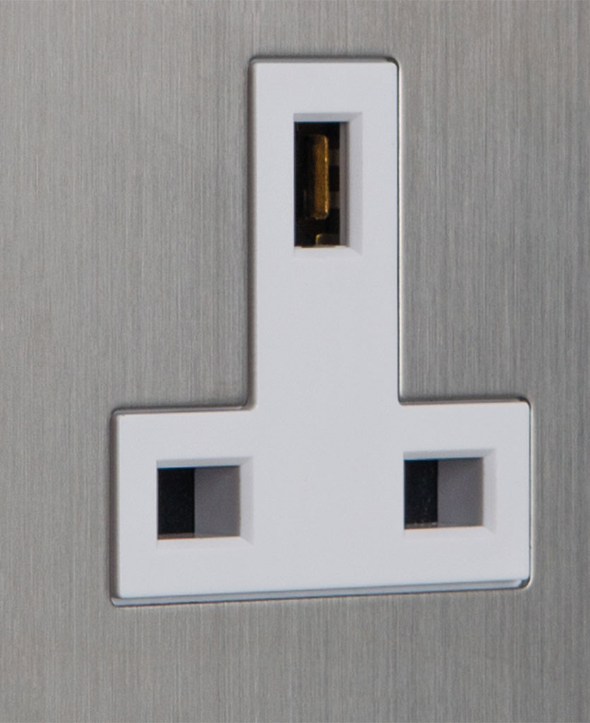 closeup of wall socket silver backplate with white insert detail