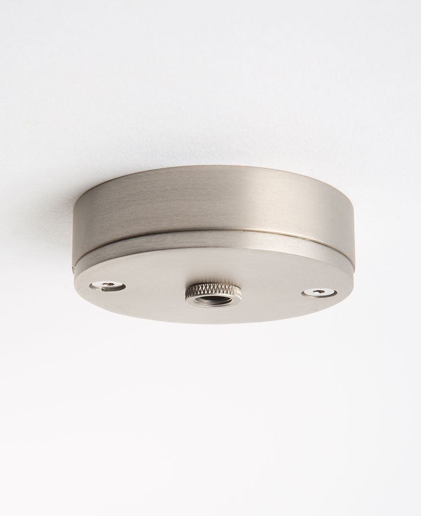 small silver ceiling rose against white background
