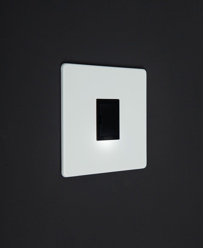 White Plate 13A Double Pole Unswitched Fuse Spur Black Unit