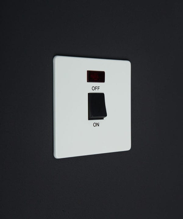 White Plate 20A Double Pole Switch With Neon Black Switch