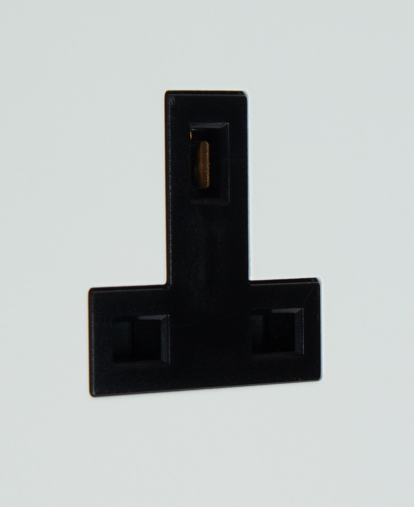 white and black unswitched single socket