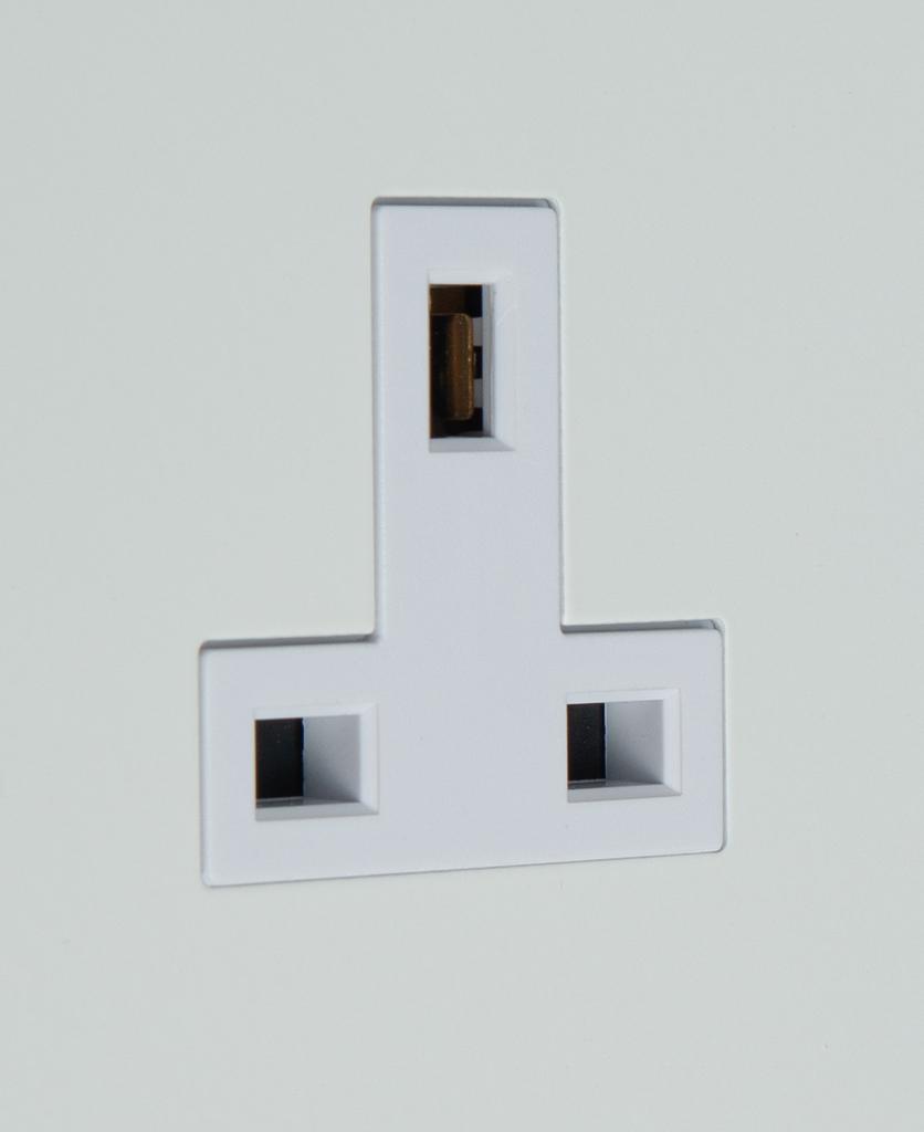 white unswitched plug socket close up