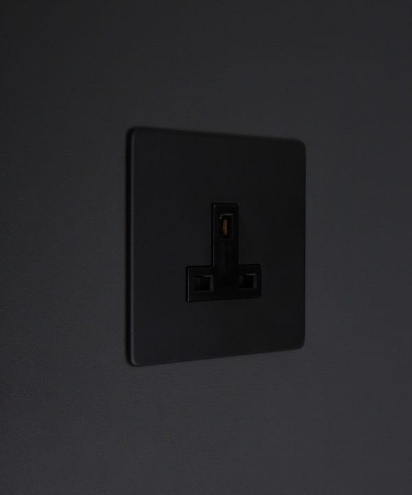 black unswitched single 1g plug socket