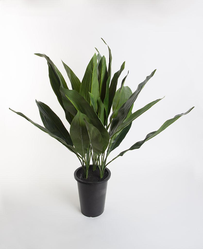 ASPIDISTRA artificial indoor plant in black pot against white background