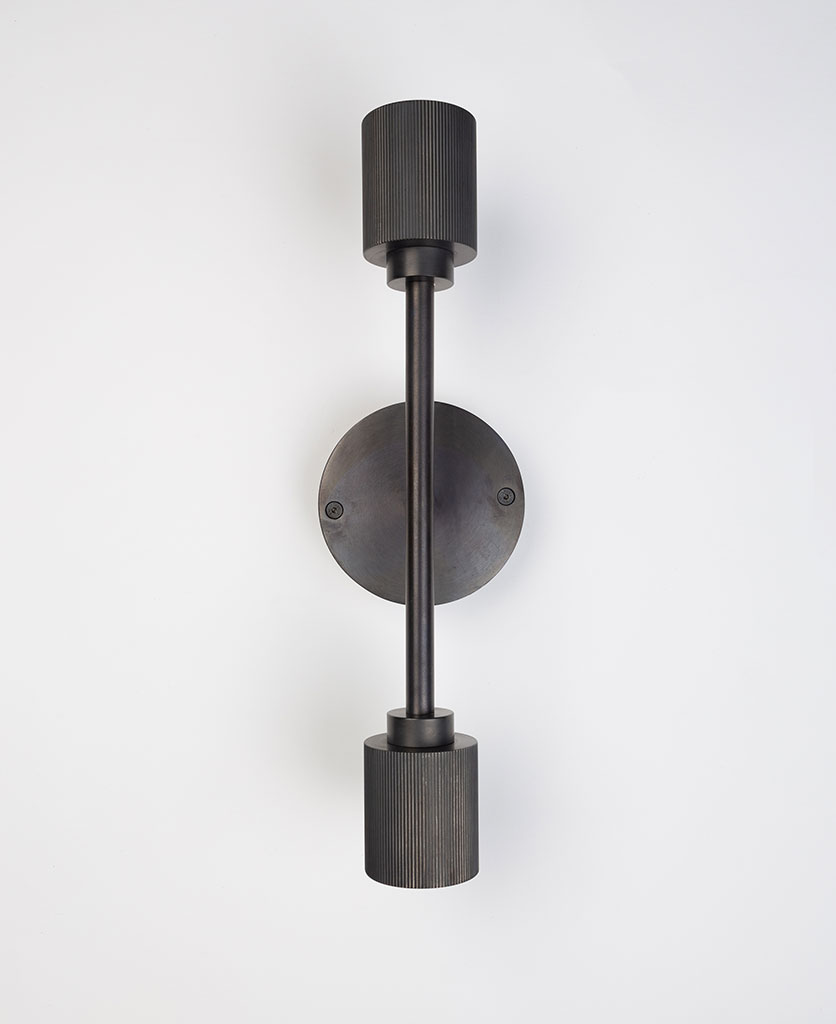 belgravia antique black wall light on white background