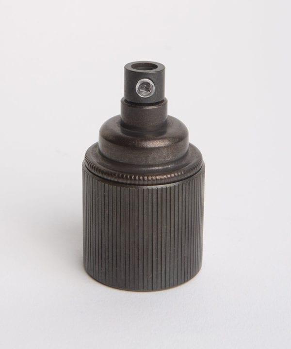 antique black e27 ribbed bulb holder against white background