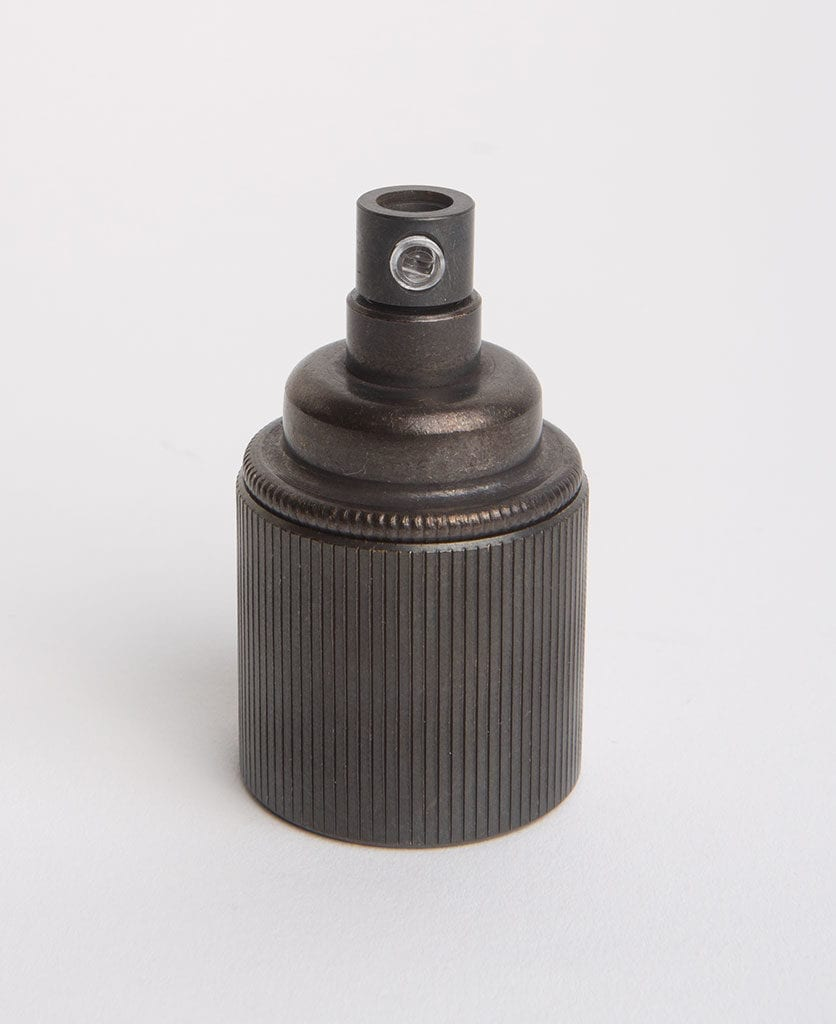 antique black e27 ribbed bulb holder against grey background
