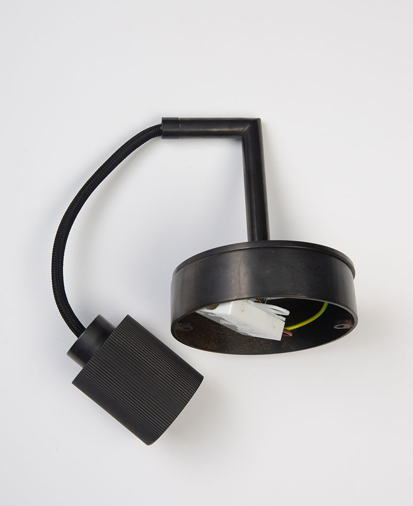 ritz antique black wall light flat lay on white background