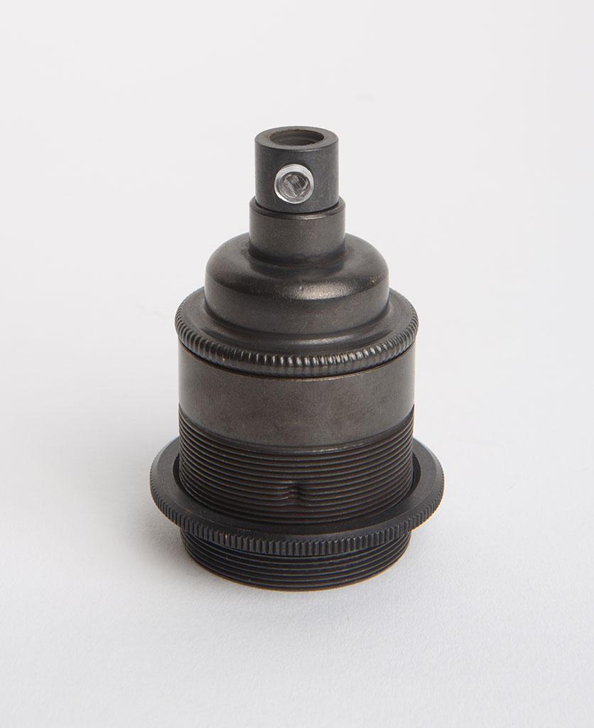 antique black threaded e27 light bulb holder against white background
