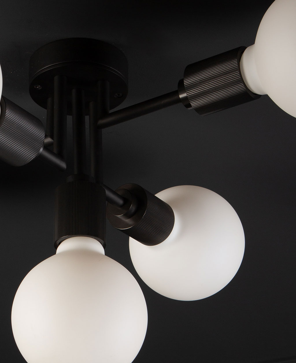 connaught ceiling light black closeup of bulb holder and bulb